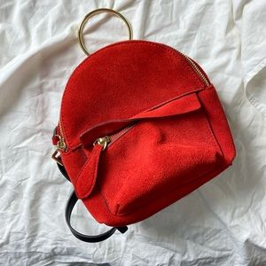 Zara Mini Red Suede Backpack